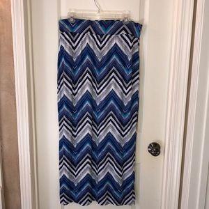 ANA blue gray chevron maxi skirt